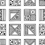Nahtloses vektormuster Geometrischer Schwarzweiss-Hintergrund mit Hand gezeichneten dekorativen Stammes- Elementen Druck mit ethn Lizenzfreie Stockfotos