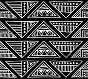 Nahtloses vektormuster Geometrischer Schwarzweiss-Hintergrund mit Hand gezeichneten dekorativen Stammes- Elementen Druck mit ethn Stockbilder