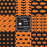 Nahtloses Vektormuster glücklicher Halloween-Sammlungssatz Lizenzfreies Stockbild