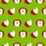 Nahtloses Vektormuster, grüner Hintergrund mit roten Äpfeln Stockbilder