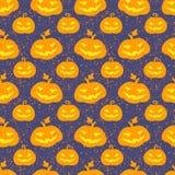 Nahtloses Vektormuster Halloween-Kürbises Stockfoto