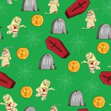 Nahtloses Vektormuster Halloween-Themas: Mama, Zombie, Spinne Lizenzfreie Stockbilder