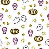 Nahtloses Vektormuster Halloweens mit Geist-, Schädel-, Kürbis- und Süßigkeitsmaiselementen Stockfotografie
