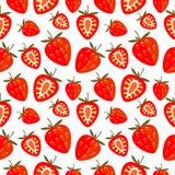 Nahtloses Vektormuster, heller chaotischer Hintergrund mit Erdbeere Stockfotos