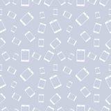 Nahtloses Vektormuster, heller shadeless Pastellhintergrund mit weißen Smartphones Stockbild