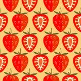 Nahtloses Vektormuster, heller symmetrischer Hintergrund mit Erdbeere-, ganzem und halbemhellorangeem übermäßighintergrund Lizenzfreie Stockfotografie