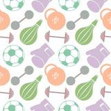 Nahtloses vektormuster Hintergrund mit bunter Nahaufnahmesportausrüstung Fußball, Sandsack, Handschuhe, Barbells, Dummkopf Lizenzfreie Stockfotografie