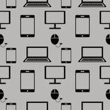 Nahtloses Vektormuster, Hintergrund mit Elementen der Technologie Stockbilder