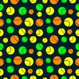 Nahtloses Vektormuster, Hintergrund mit Elementen von Tennisbällen Stockbild