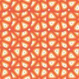 Nahtloses Vektormuster mit abstrakten Zitrusfrucht- oder Tomatenschnitten Stockfotos