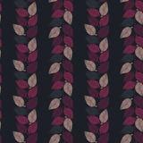 Nahtloses Vektormuster mit dem Rosa und purpurroten Blättern, die vertikale Streifen auf dunklem Hintergrund bilden lizenzfreie abbildung