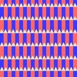 Nahtloses Vektormuster mit den Bleistiften rot und blau Stockfotos