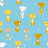 Nahtloses Vektormuster mit den weißen und gelben netten kleinen Katzen Stockfotografie