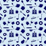Nahtloses Vektormuster mit Elementen von blauen Küchengeräten Stockbilder