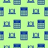 Nahtloses Vektormuster mit Elementen von Kalendern und von Uhren Stockfotografie