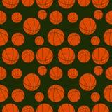 Nahtloses Vektormuster mit Elementen von orange Basketbällen Stockbild