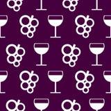 Nahtloses Vektormuster mit Elementen von Trauben und von Weingläsern Stockfoto