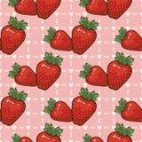 Nahtloses Vektormuster mit Erdbeeren und Herzen stock abbildung