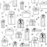 Nahtloses Vektormuster mit Hand gezeichneten Geschenkboxen Lizenzfreie Stockfotografie