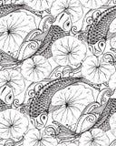 Nahtloses Vektormuster mit Hand gezeichneten Koi-Fischen, Lotos verlässt Stockfoto