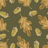 Nahtloses Vektormuster mit Herbstlaub Eichenblatt- und -eichelzeichnung stockbilder