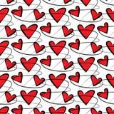 Nahtloses Vektormuster mit Herzen und Linien stock abbildung