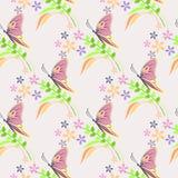 Nahtloses Vektormuster mit Insekten, Hintergrund mit bunten Schmetterlingen, Blumen und Niederlassungen mit Blättern über hellem  Stockfotografie