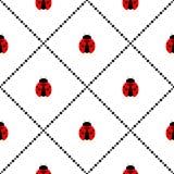 Nahtloses Vektormuster mit Insekten, symmetrischer geometrischer Hintergrund mit hellen kleinen Marienkäfern, über weißem Hinterg Lizenzfreies Stockbild