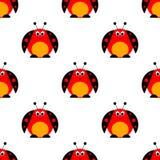 Nahtloses Vektormuster mit Insekten, symmetrischer Hintergrund mit hellen netten komischen Marienkäfern, Stockfotos