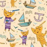 Nahtloses Vektormuster mit Katzenseemann auf dem Strand mit einem Schiff Lizenzfreie Stockfotografie
