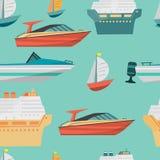 Nahtloses Vektormuster mit Motorboot- und Schiffskreuzfahrtschiff lizenzfreie abbildung
