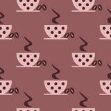 Nahtloses Vektormuster mit Nahaufnahmerosa-Kaffeetassen mit Punkten und Körnern auf dem braunen Hintergrund Lizenzfreie Stockbilder