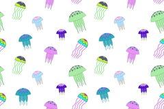 Nahtloses Vektormuster mit Quallenillustration Weißer Hintergrund, Neon, Grün, Rosa, blau lizenzfreie abbildung