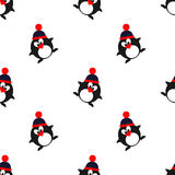 Nahtloses Vektormuster mit Tieren, netter Hintergrund mit Pinguinen mit Winterhüten Stockbild