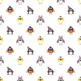 Nahtloses Vektormuster mit Tieren, netter Hintergrund mit Vögeln, Pinguine und Küken Stockfoto