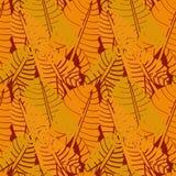 Nahtloses Vektormuster mit tropischen Blattformen in der Orange und im Rost vektor abbildung