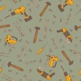 Nahtloses Vektormuster mit Werkzeugen Lizenzfreie Stockbilder