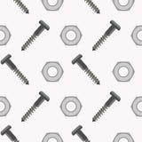 Nahtloses Vektormuster mit Werkzeugen Symmetrischer Hintergrund mit Schrauben und Nüssen auf dem weißen Hintergrund Stockfotografie