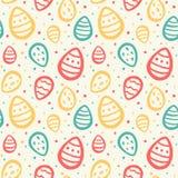 Nahtloses Vektormuster Ostern mit gemalten Eiern Lizenzfreie Stockbilder