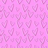 Nahtloses Vektormuster, rosa Hintergrund mit den roten und weißen Herzen Stockfotografie