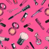 Nahtloses vektormuster Schönheit und kosmetischer Speicher, Salon stock abbildung