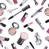 Nahtloses vektormuster Schönheit und kosmetischer Speicher, Salon lizenzfreie abbildung