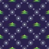 Nahtloses vektormuster Symmetrischer blauer Hintergrund des Saisonwinters mit Schneeflocken und Tannenbäumen Lizenzfreie Stockbilder