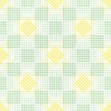 Nahtloses vektormuster Symmetrischer geometrischer Hintergrund mit grünen und gelben Raute, den Quadraten und den Linien Dekorati Lizenzfreie Stockfotos