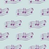 Nahtloses Vektormuster, symmetrischer Hintergrund der blauen Musik mit Anmerkungen Stockfoto