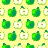 Nahtloses Vektormuster, symmetrischer Hintergrund der hellen Früchte mit Äpfeln, ganz und halb Lizenzfreie Stockbilder