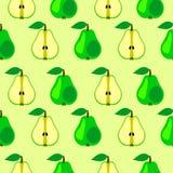 Nahtloses Vektormuster, symmetrischer Hintergrund der hellen Früchte mit Birnen-, ganzem und halbemhellem übermäßighintergrund Stockfoto