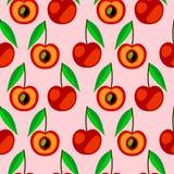 Nahtloses Vektormuster, symmetrischer Hintergrund der hellen Früchte mit Kirsche-, ganzem und halbemhellem übermäßighintergrund Lizenzfreie Stockbilder