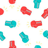 Nahtloses Vektormuster von Boxhandschuhen Stockbild
