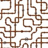 Nahtloses Vektormuster von ineinandergreifenden kupfernen Wasserleitungen mit Ventilen lizenzfreie abbildung
